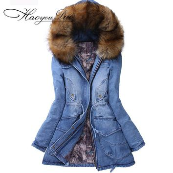 Plus Size 2XL Jean Jacket Womens 2017 Winter Jacket Thick Cotton Padded Denim Jacket Women Coat Oversized Warm Denim Chaquetas