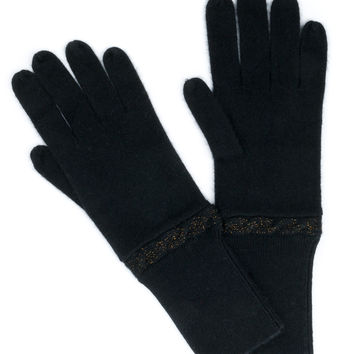 Cable Lurex Cashmere Gloves
