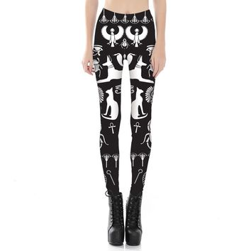 Egyptian Style Cats Ankhs Symbols Yoga Pants
