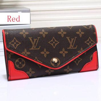 LV Women Leather Zip Wallet Purse H 8-28