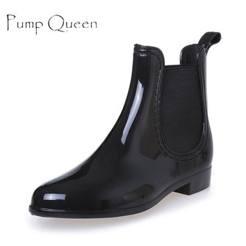 Summer Women Rain Boots Waterproof Non-slip Ankle Short Boots Solid Casual Shoes Flats For Woman Mujer Size 35-40