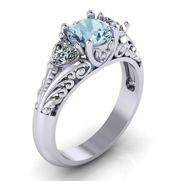 Aquamarine Floral Engagement Promise Solitaire Ring