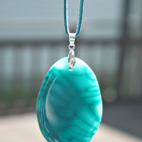 Agate Stone Pendant Necklace -  Polished Dragon Veins Agate  /  Suede Cord - Turquoise Color Stone - Unique Gift