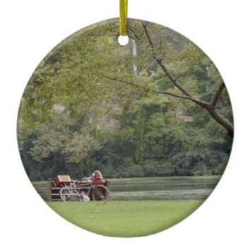 Relaxing by the River Ceramic Ornament