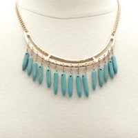 Turquoise Spike Collar Necklace by Charlotte Russe - Gold