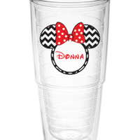 Minnie Mouse Chevron Tumbler with name ~ Perfect gift for Disney lover ~ personalized Tervis cup 24oz - Disney cruise cup - Disney trip