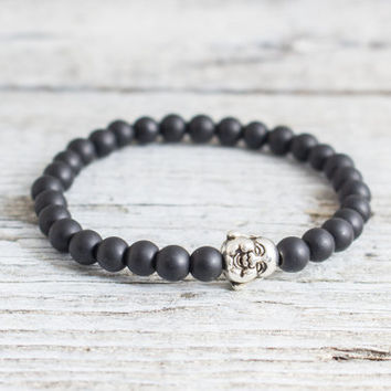 Matte black onyx beaded smiling Buddha stretchy bracelet, custom made yoga bracelet, mens bracelet, womens bracelet