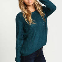 Teal Chunky Knit Sweater - LoveCulture