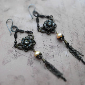 Bohemian assemblage patina long earrings / mixed metal chains tassel / clear rhinestones set, black oxidized brass, pink freshwater pearls,