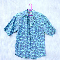 Blue Rose Print Men's Short Sleeved Button Up Shirt - Vintage 90s Teal, Purple, & Cobalt Floral Print Collared Shirt - Men's Size Large