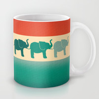 Three Elephants - Burnt orange, cream & teal Mug by Perrin Le Feuvre