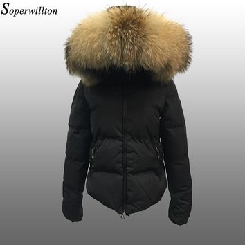 Soperwillton 2017 Real Fur Hooded Winter Jacket&Coats Slim Puffer Jacket Thicken Warm Outwear Padded Women Winter Coat BC0701-2