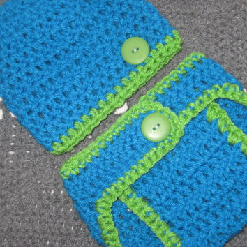 Aqua and Electric Green Baby Diaper Cover and Baby Hat Set 3-6 months Baby Shower Gift, Ready to Ship