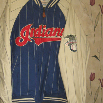 Vintage Mirage  genuine Cleveland Indians Reversible Baseball Jacket Size  med