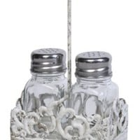 Creative Co-op Cottage Chic Metal Salt and Pepper Shaker Caddy with Glass Shaker, 7.5-Inch