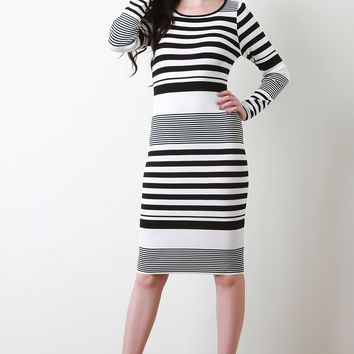 Striped Knit Long Sleeve Bodycon Midi Dress