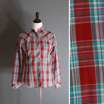 Plaid Western Shirt / Red Plaid Blouse / by naturalstatevintage