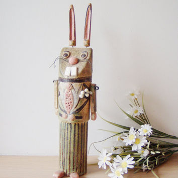 Groomed Easter bunny, ceramic gentleman bunny sculpture of high fire stoneware