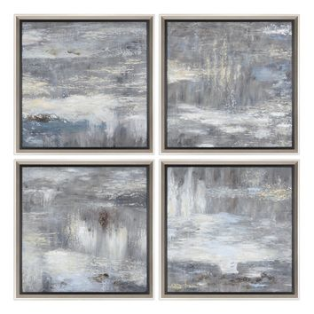 Shades Of Gray Hand Painted Art S/4