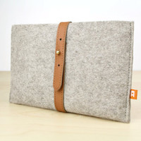 Kindle Fire Sleeve / Case Dunbar  Gray Wool Felt with by Adimaa