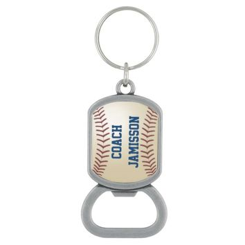 Personalized Baseball Bottle Opener Keychain Coach