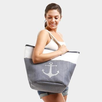 Large Nautical Anchor Paper Straw Zippered Beach Tote Bag