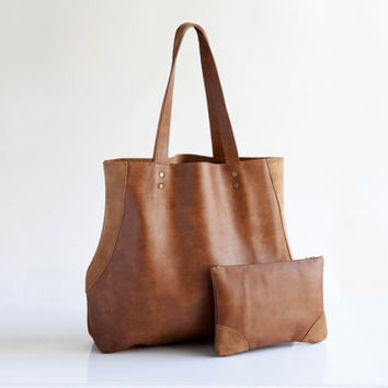 Special custom combo - Light brown leather tote and matching pouch, Handcrafted Leather bag, Leather handbags, Leather bag, Gift for her