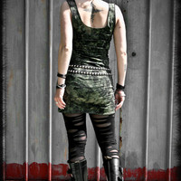 Mini DRESS army tube stretch MILITARY GREEN post apocalyptic vest