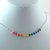 Swarovski crystal rainbow necklace.  Adjustable.