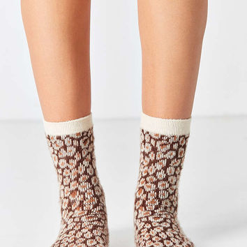 Out From Under Fuzzy Animal Printed Crew Sock - Urban Outfitters