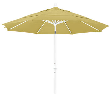 11 Foot Sunbrella 4A Fabric Aluminum Crank Lift Collar Tilt Patio Umbrella with White Pole