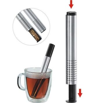 Tea Strainer Stick Stainless Steel Pipe Design Mesh Tea Filter Coffee Teapot Tools 2016 Hot Selling Portable Tea Infuser 878331
