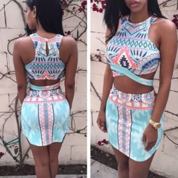 Flower Print Bandage Crop Top Bodycon Skirt Dress Suit