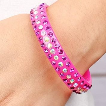 Some Like it Hot Pink Crystal Sparkle Bangle