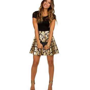 Sale-gold Lace And Foil Skater Dress