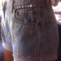 Gold cross and studded shorts  by AngeliqueMerici on Etsy