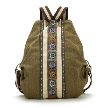 High Quality sac a dos Ethnic  Vintage Canvas Backpacks for Women Embroidered Rucksack Drawstring Bag School Travel Boho Mochila
