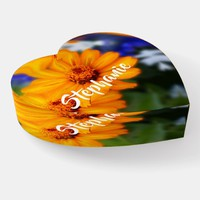 Orange Flowers Floral Heart Glass Paperweight