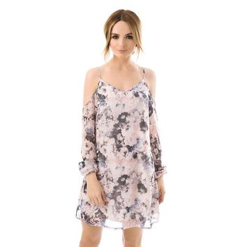 Printed Cold Shoulder Dress - Fashion Union