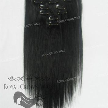 Brazilian 7 Piece Straight Human Hair Weft Clip-In Extensions in #1