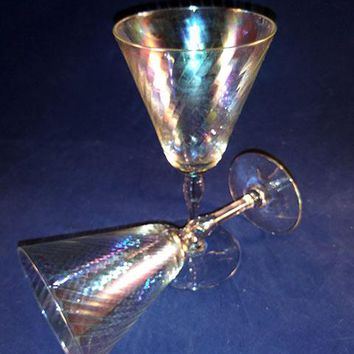 Iridescent Optic Swirl Wine Glasses  S/2