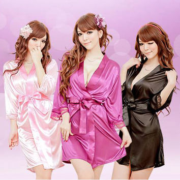 V-neck Bathrobe Rayon Silk Sleepwear Pajamas