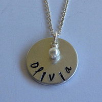 Hand Stamped Personalized Flower Girl Necklace with Swarovski Crystal Pearl or Crystal Birthstone / Hand Stamped Wedding Jewelry
