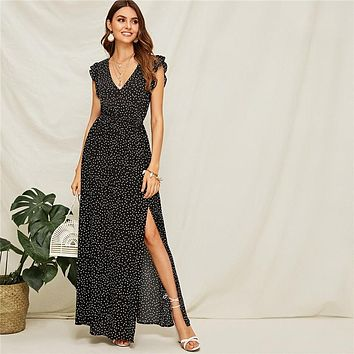 Polka-Dot Ruffle Armhole Split Thigh Maxi Dress A Line Boho High Waist Black Sleeveless V neck Women Dresses