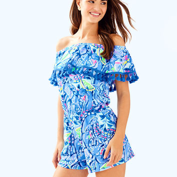 La Fortuna Off The Shoulder Romper | 29215-blueperipinchpinch | Lilly Pulitzer