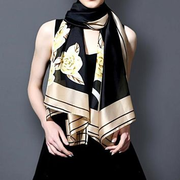 Long Gold Printing Silk Scarf Luxury Brand