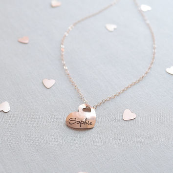 Engraved Heart Name Necklace - personalized heart, silver, gold, rose gold - 1376