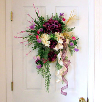 "Spring summer wreath, ""Plum Sweet"", front door floral decoration, wall pocket wreath, door wall decoration, floral swag, plum hydrangea"