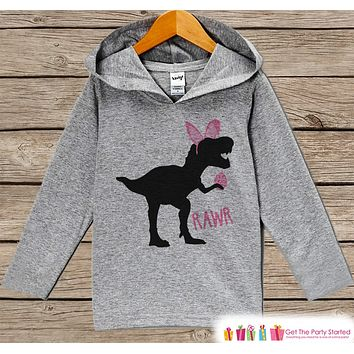 Girls Easter Outfit - Dinosaur Easter Bunny Hoodie - Easter Spring Pullover - Baby Toddler Girls Easter Outfit - Egg Hunt - Kids Grey Hoodie