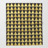 Triangles Black&Gold Throw Blanket by Octavia Soldani | Society6